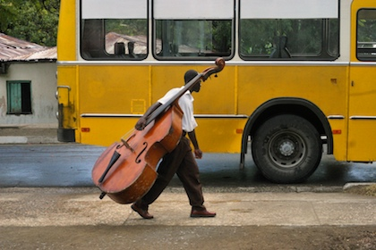 Bass Player and Bus